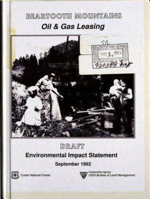 Custer National Forest  N F    Beartooth Mountains Oil and Gas Leasing PDF