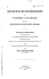 Geschichte des Bauernstandes in Pommern und Rügen bis zum dreissigjährigen Krieg