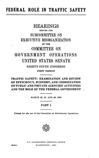 Federal Role in Traffic Safety PDF