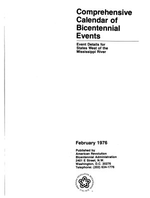 Comprehensive Calendar of Bicentennial Events West of the Mississippi PDF