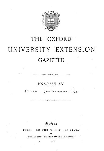 The Oxford University Extension Gazette PDF