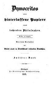 Dymocritos oder hinterlassene Papiere eines lachenden Philosophen: Band 12