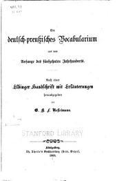 Ein deutsch-preussisches vocabularium aus dem anfange des fünfzehnten jahrhunderts: Nach einer Elbinger handschrift mit erläuterungen