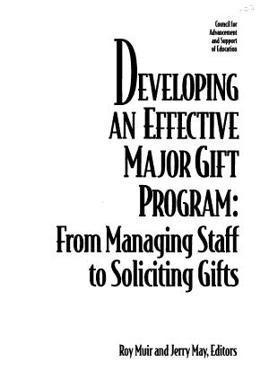 Developing an Effective Major Gift Program