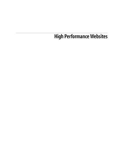 High Performance Websites PDF