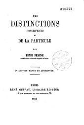 Des distinctions honorifiques et de la particule