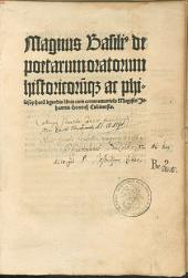 Magnus Basili[us] de poetarum oratorum historicoru[m]q[ue] ac philosophoru[m] legendis libris