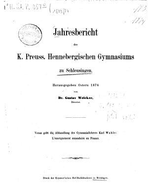 Jahresbericht des K  Preu    Hennebergischen Gymnasiums zu Schleusingen PDF