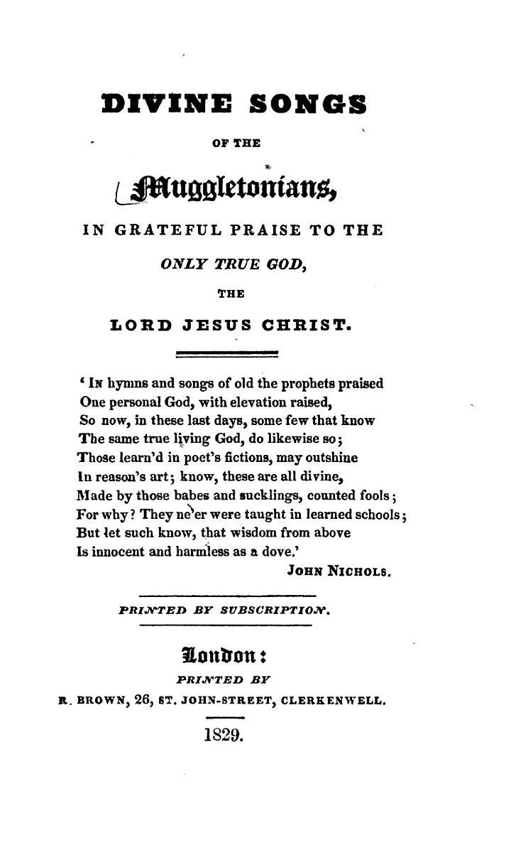 Divine Songs of the Muggletonians