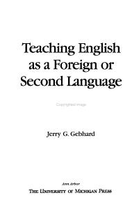 Teaching English as a Foreign Or Second Language Book