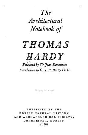 The Architectural Notebook of Thomas Hardy PDF