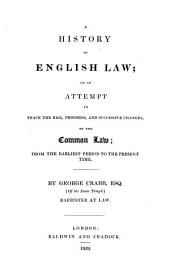 A History of English Law, Or, An Attempt to Trace the Rise, Progress, and Successive Changes, of the Common Law: From the Earliest Period to the Present Time