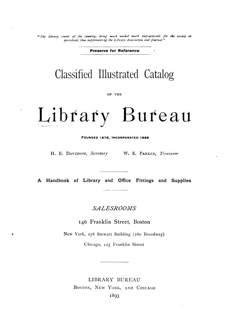 Classified Illustrated Catalog of the Library Department of Library Bureau