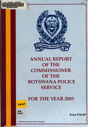 Annual Report of the Commissioner of the Botswana Police