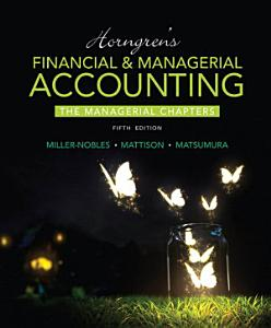 Horngren s Financial   Managerial Accounting  The Managerial Chapters Book