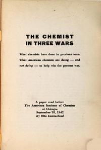The Chemist in Three Wars