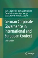 German Corporate Governance in International and European Context PDF