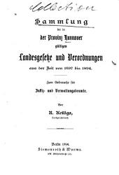 Sammlung der in der Provinz Hannover gültigen Landesgesetze und Verordnungen aus der Zeit von 1697 bis 1894
