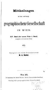 Inhaltsverzeichnis der Veröffentlichungen der K.K. Geographischen Gesellschaft (1857-1907)