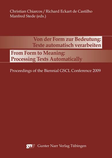 Von der Form zur Bedeutung  Texte automatisch verarbeiten PDF