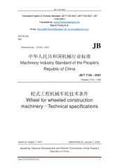 JB/T 7155-2007: Translated English of Chinese Standard. (JBT 7155-2007, JB/T7155-2007, JBT7155-2007): Wheel for wheeled construction machinery - Technical specifications.