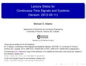 Lecture Slides for Continuous-Time Signals and Systems