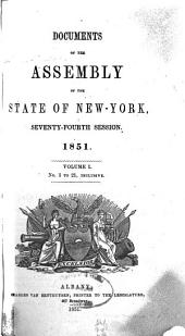 Documents of the Assembly of the State of New York: Volume 74, Issue 1