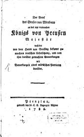 Der Brief des Grafen Mirabeau an des jetzt regierenden Königs von Preussen Majestät