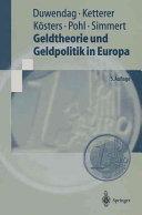 Geldtheorie und Geldpolitik in Europa PDF