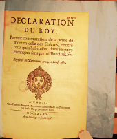 Déclaration du Roy, portant commutation de la peine de mort en celle des galères contre ceux qui s'habituënt dans les pays étrangers sans permission du Roy [Versailles, 31 mai 1685]. Régistrée en parlement le 14 aoust 1685