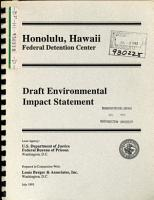 Honolulu  Federal Detention Center  Construction and Operation  Island of Oahu PDF
