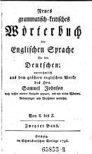 Neues grammatisch kritisches W  rterbuch der Englischen Sprache f  r die Deutschen PDF