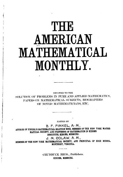 Download The American Mathematical Monthly Book