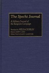 The Specht Journal: A Military Journal of the Burgoyne Campaign