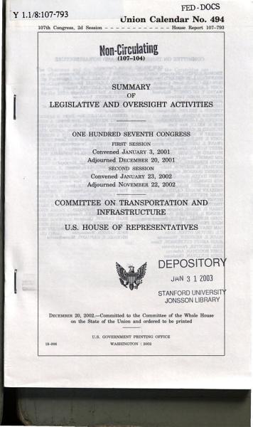 Download Summary of Legislative and Oversight Activities Book