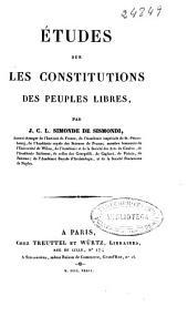 Études sur les constitutions des peuples libres