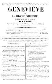 Geneviève, ou la Jalousie paternelle. Comédie-vaudeville en un acte, etc