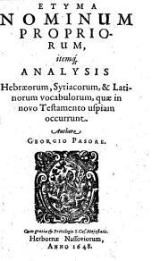 Etyma nominum propriorum
