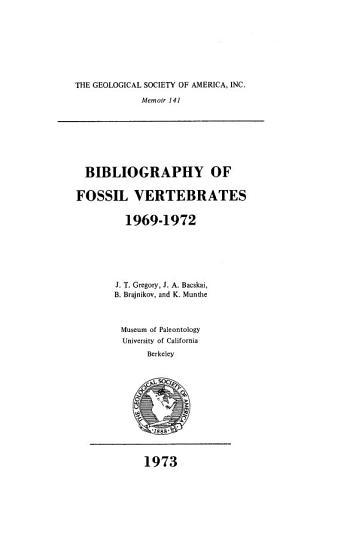 Bibliography of Fossil Vertebrates  1969 1972 PDF