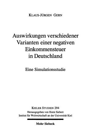 Auswirkungen verschiedener Varianten einer negativen Einkommensteuer in Deutschland PDF