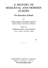 A History of Mediæval and Modern Europe for Secondary Schools
