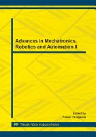 Advances in Mechatronics  Robotics and Automation II PDF