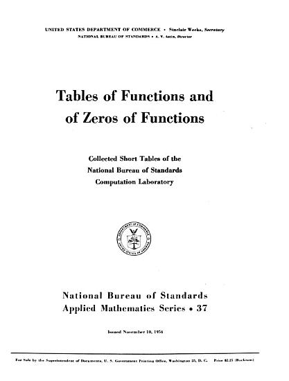 Tables of Functions and of Zeros of Functions PDF