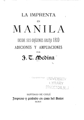 La imprenta en Manila desde sus orígenes hasta 1810