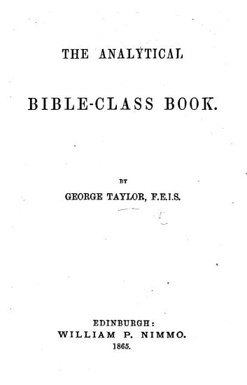 The Analytical Bible Class Book PDF