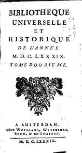 Bibliotheque universelle et historique de l'année MDCLXXXVIII: tome onziéme