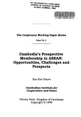 Cambodia s Prospective Membership in ASEAN PDF