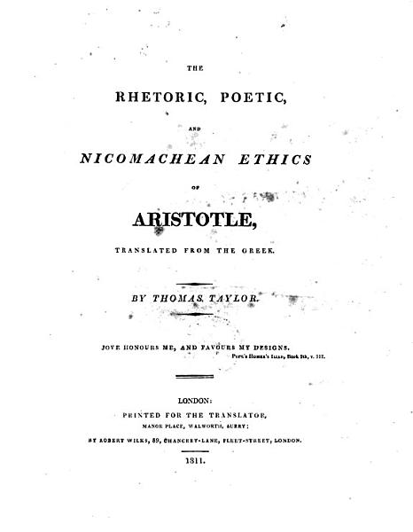 The Rhetoric  Poetic and Nicomachean Ethics of Aristotle  tr  by T  Taylor PDF