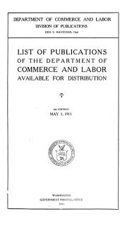 List of Publications of the Department of Commerce and Labor Available for Distribution