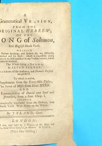 A Grammatical Version  from the Original Hebrew  of the Song of Solomon Into English Blank Verse